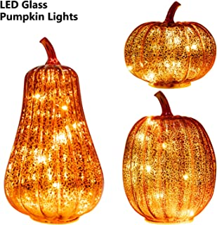 KI Store Glass Pumpkin with Lights Set of 3 Large LED Lighted Mercury Glass Pumpkins Lantern with Acrylic Stem for Thanksgiving Autumn Fall Harvest Battery Operated