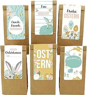 Papierdrachen 12 torebek wielkanocnych z prostokątnymi naklejkami – motyw wiosny – dla dzieci i dorosłych – alternatywne g...