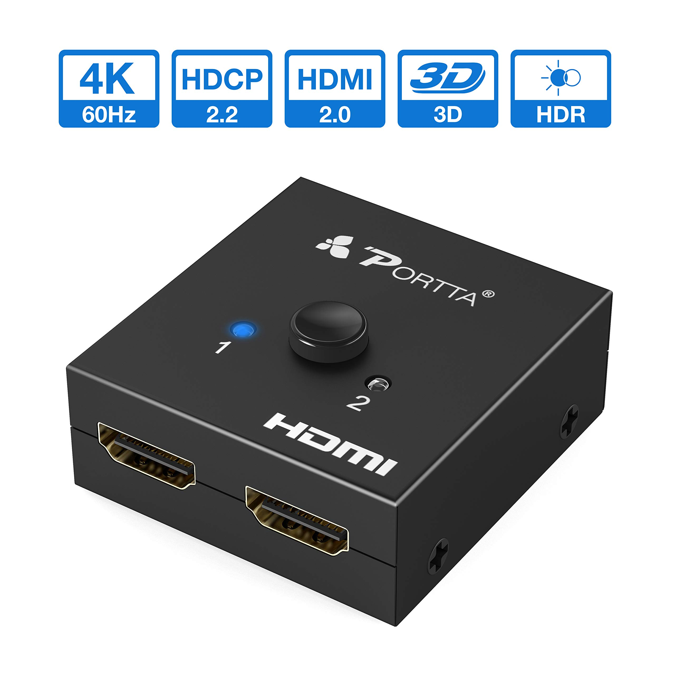 Amazon Com Portta Hdmi Switch 4k 60hz Hdmi Splitter Bi Directional Hdmi Switcher Splitter 2 In 1 Out Or 1 In 2 Out For Blu Ray Player Roku Tv Stick Nintendo Switch Xbox Ps4 Hdtv