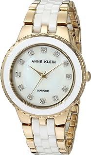 Anne Klein Women's AK/2712WTGB Diamond-Accented Gold-Tone and White Ceramic Bracelet Watch