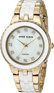 Anne Klein Women's AK/2712WTGB Diamond-Accented Gold-Tone and White Ceramic Bracelet Watch