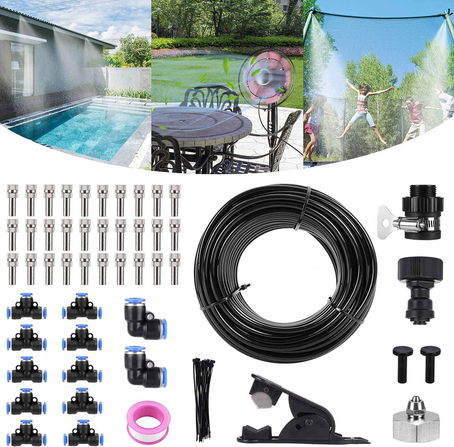 Bearbro Misting Cooling System for Patio,59FT (18M) Misting Line DIY Outdoor Mist Cooling Kit +24 Copper Metal Mist Nozzles +20 Tube Ties + a Connector(3/4