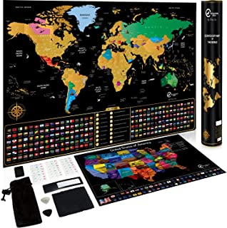 Scratch Off Map of The World + Scratch Off USA Map - Large Premium Wall Art