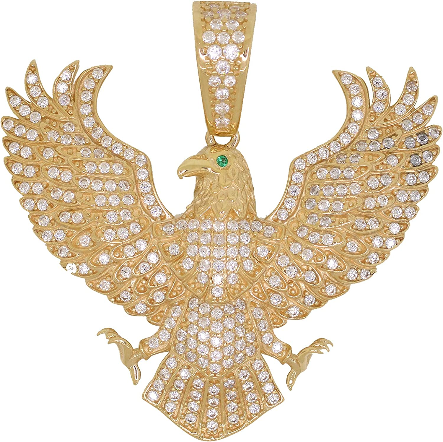 Men's 10k Gold Round Cut Cubic Zirconia Iced Out Heraldic Eagle Pendant, 1.70