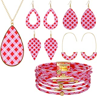 caiyao 5 Pcs Colorful Faux Leather Plaid Heart Print Dangle Earrings and Necklace Multilayered Bracelet Valentine's Day Fe...