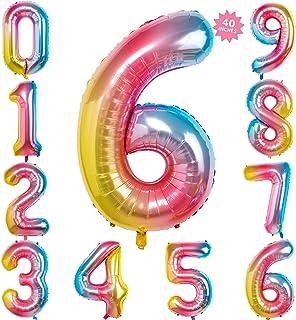 40 Inch Rainbow Jumbo Digital Number Balloons 6 Huge Giant Balloons Foil Mylar Number Balloons for Birthday Party,Wedding, Bridal Shower Engagement Photo Shoot, Anniversary