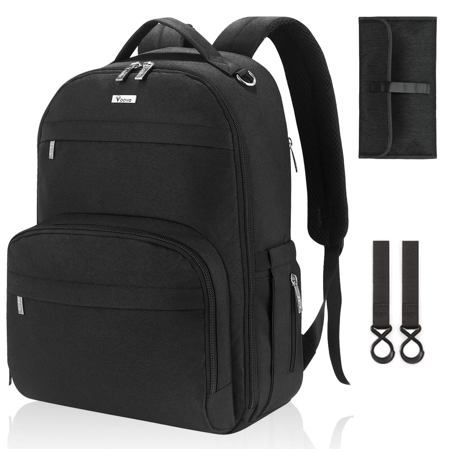 Voova Diaper Bag Backpack, Multifunction Travel Back Pack Maternity Baby Nappy Changing Bags with Changing Pad & Stroller Straps, Large Capacity,Waterproof and Stylish for Mom and Dad, Black