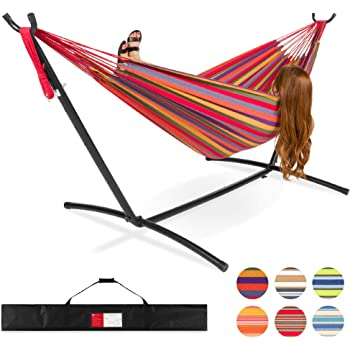 Best Choice Products 2-Person Indoor Outdoor Brazilian-Style Cotton Double Hammock Bed w/Carrying Bag, Steel Stand, Rainbow