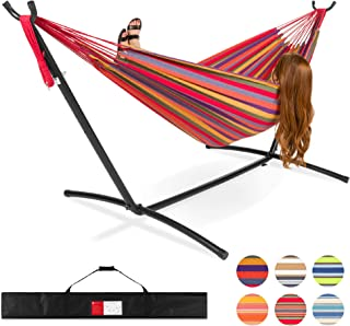 Best Choice Products 2-Person Brazilian-Style Cotton Double Hammock Bed w/Carrying Bag, Steel Stand, Rainbow