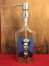Frida Kahlo Glass Dispenser for Soap or Lotion Repurposed Bottle