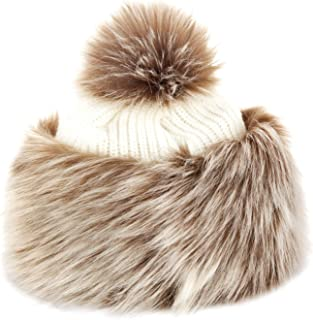 Faux Fox Fur Winter Tatars Hat for Women Cossack Pompom Ski