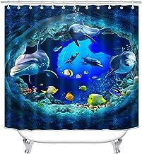Juego de cortina de ducha de delfín para baño, diseño de mar en 3D, para niños, azul océano mundo de peces, juego de decor...