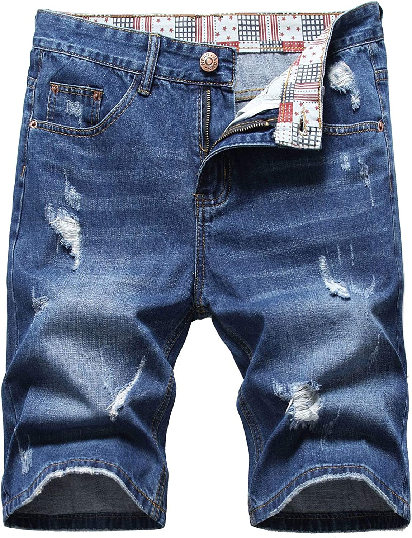 Broken Hole Denim Shorts,Men's Vintage Patch Regular Straight Fit Distressed Ripped Jeans Shorts Blue 40