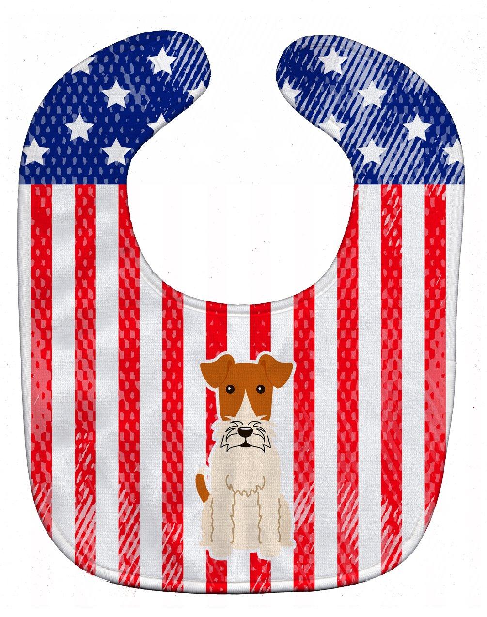 Caroline's Treasures BB3096BIB Patriotic USA Wire Fox Terrier Baby Bib, 10 x 13