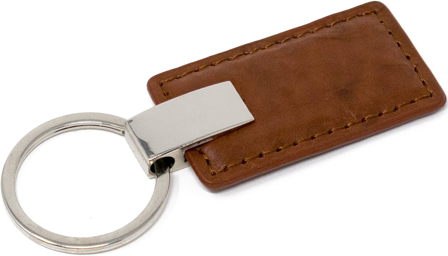 Brown Leather Rectangle Genuine Leather Keychain