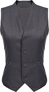 Beyove Womens Waistcoat Work Business Button Down Short Blazer Dressy Vest