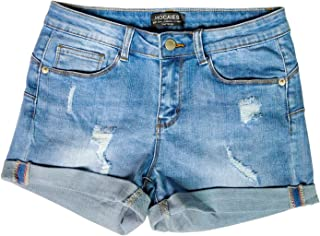 HOCAIES Women's Juniors Mid Rise Jean Shorts Folded Hem Denim Shorts for Women