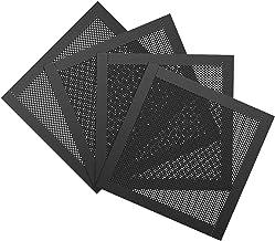 MoKo 120mm Filtro de Polvo de PVC Malla [4 Pack] Rejilla Cubierta de Ventilador con Marco de Goma Magnética de Filtro de Aire Malla para Caja de Computadora - Negro