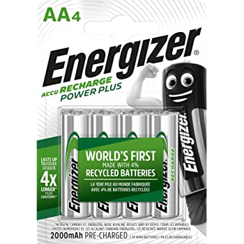 Energizer AA Akkus, Recharge Power Plus Akku, 4 wiederaufladbare Batterien AA