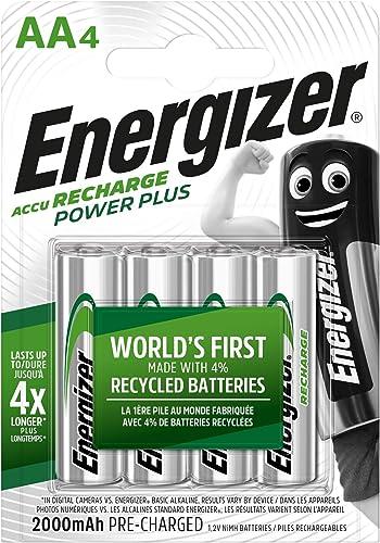Energizer Piles Rechargeables AA, Recharge Power Plus, Lot de 4