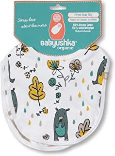 Babyushka Bear Print Organic Bib, 2 Count