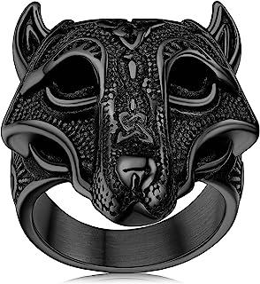 FaithHeart Norse Viking Jewelry Mens Stainless Steel Vikings Thor's Hammer/Wolf Head Ring Valknut Warrior's Gothic Jewelr...