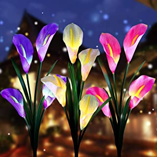 Aloudy Solar Garden Stake Lights, Upgraded 3 Pack Outdoor Waterproof Solar Powered Lights with 12 Calla Lily Flowers, 7 Colors Changing LED Solar Lights for Garden, Patio, Backyard(Purple and White)