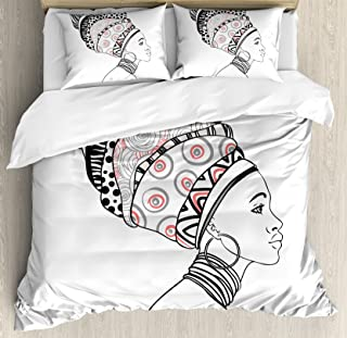 Ambesonne African Duvet Cover Set, Exotic Safari Lady in Boho Turban Glamour Folkloric Fashion Design Print, Decorative 3 Piece Bedding Set with 2 Pillow Shams, Queen Size, Grey Coral