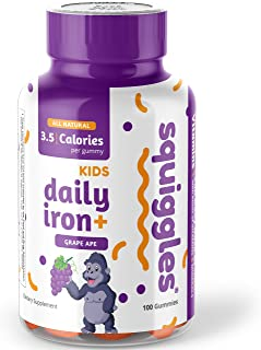 Kids Daily Iron+ Gummies by Squiggles 100ct. | All-Natural, Low Sugar, and Super Yummy | Daily Dose of Iron + Boost of Vitamins and Minerals.