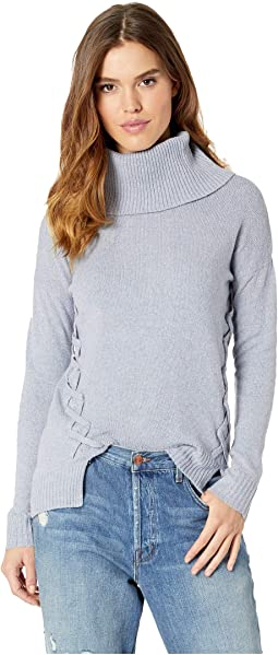 Cowl Neck Drop Shoulder Long Sleeve Lace-Up Side Pullover