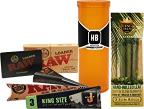 JWare Pre-Rolled King Size Cones, King Palm 3 Pack Slim Cone, RAW Natural King Size Cones, Cone Loader, with Hippie Butler Pop Top Storage Container – 5 Item Bundle