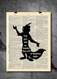 Robin Hood Silhouette - Happiness Quote Art- Vintage Art - Authentic Upcycled Dictionary Art Print - Home or Office Decor - Inspirational And Motivational Quote Art