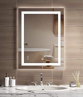 JORYOO 24x32 inch Bathroom Mirror with Light, Color Temperature Adjustable 3000k-6000k, Led Vanity Bathroom Mirror Defforger, Dimming Touch Sensor, IP54 Waterproof, CRI 95+, Vertical & Horizontal