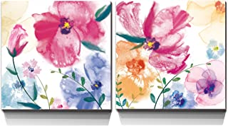 3Hdeko - Pink Abstract Flower Pictures Wall Art Purple Watercolor Poppies Floral Painting for Bathroom Girl Bedroom Living Room Home Decoration, 2 Pieces Canvas Prints, Ready to Hang (20x20inchx2pcs)