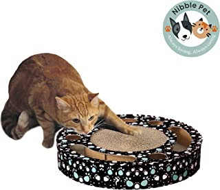Nibble Pet Interactive Cat Scratch Pad with Bell Ball and Catnip- Black