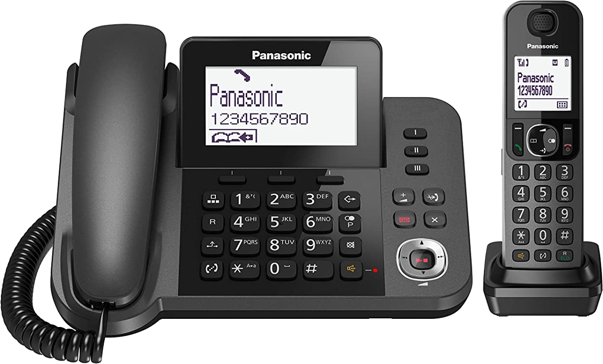 Telefono a filo abbinato a cordless dect con segreteria telefonica panasonic kx-tgf320exm