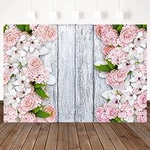 Mocsicka White Retro Wood Photography Background Pink Flower Frame Backdrop 7X5ft Vinyl Wood Board Photo Studio Portrait Backdrops