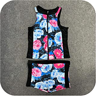 Surprise S Sexy Bikini 2020 Women Floral Zip Front Tankini Swimsuit with Swim Shorts Sleeveless Rash Guard Swimsuit One Piece