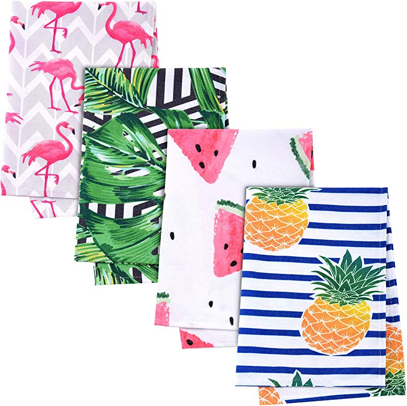 4 Pieces Summer Kitchen Hand Towels Hawaii Kitchen Towels Tropical Beach Towels Bulk Tea Dish Towels Soft Cleaning Dishcloths For Home 28 X 20 Inch