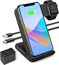2 in 1 Qi Wireless Charging Station for Apple Watch and iPhone XS MAX, XR, XS, X, 8, 8Plus, Apple Watch Wireless Charger (QC 3.0 Adapter Included) (Black)