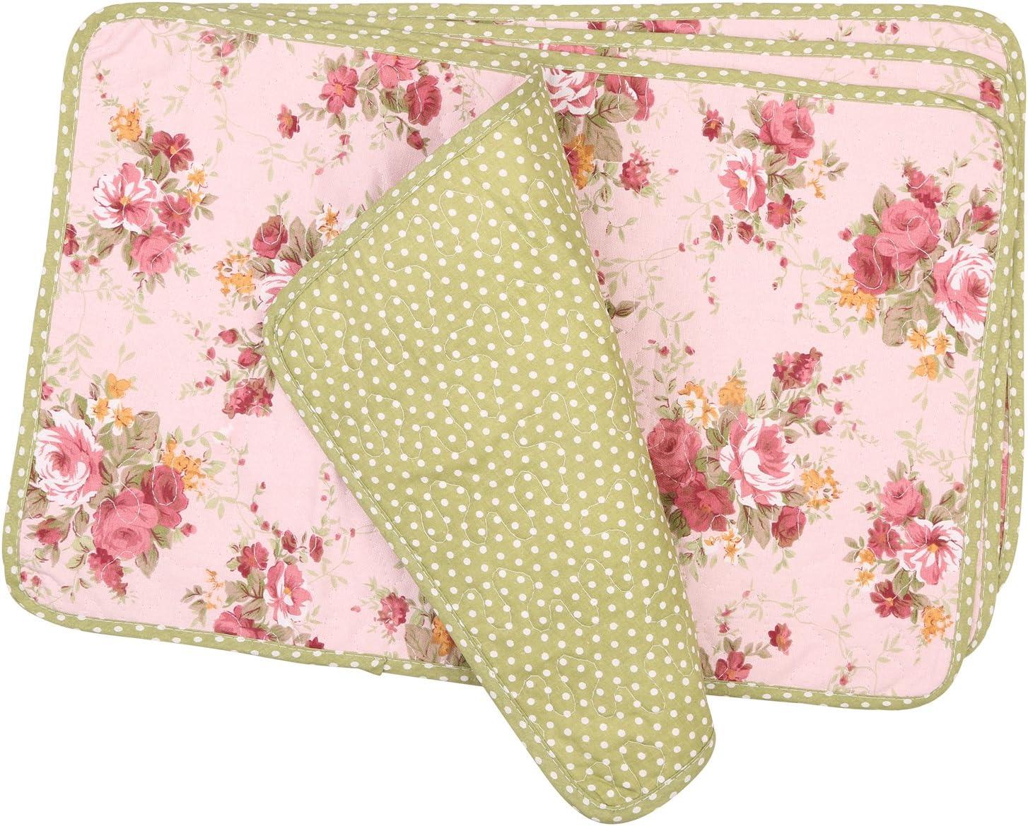 NEOVIVA Juego de 4 manteles individuales acolchados para comedor, cocina de algodón, diseño floral, color rosa