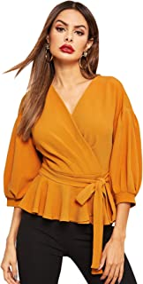 Women's Lantern 3/4 Sleeve V Neck Ruffle Blouse Tie Waist Wrap Peplum Top
