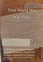 25 DIVISION 74 Infantry Brigade Alexandra, Princess of Wales's Own (Yorkshire Regiment) 9th Battalion : 1 September 1918 - 28 February 1919 (First World War, War Diary, WO95/2247/2)