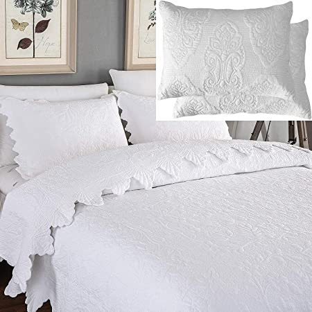 Brandream 5-Piece White Quilts Set King Size Bedspreads Farmhouse Bedding 100% Cotton Quilted Coverlet Set