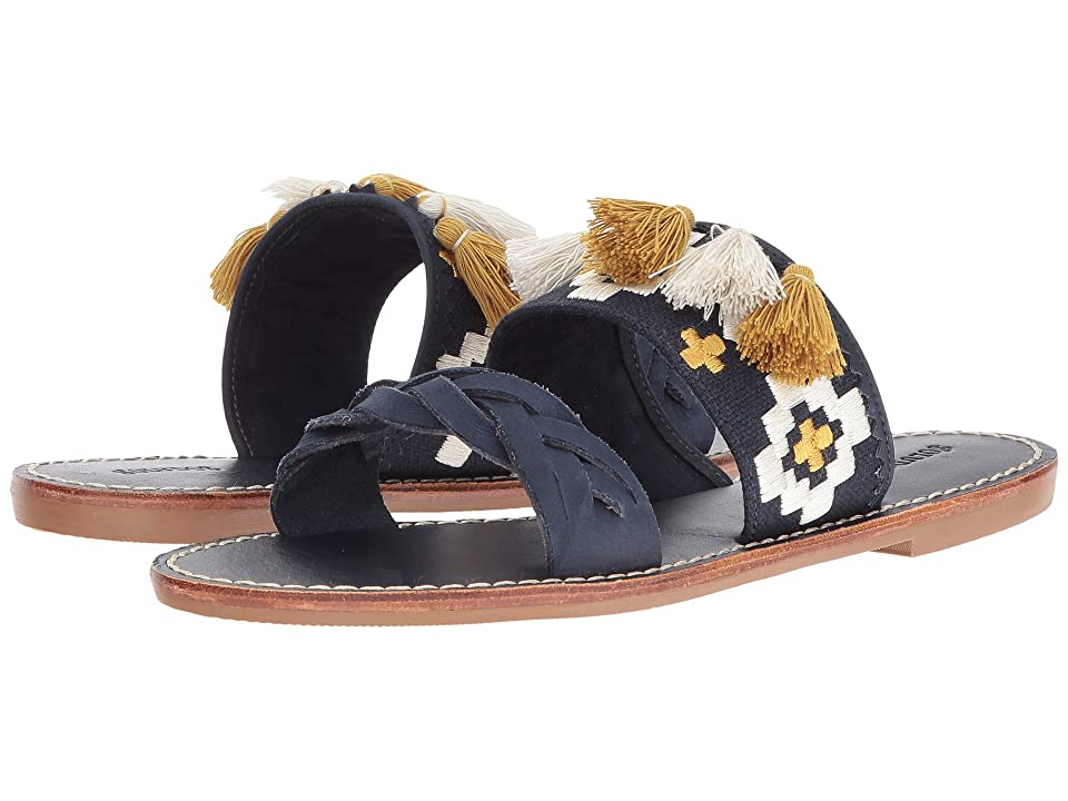 Soludos Embroidered Slide Flat Sandal (Midnight Blue Leather) Women