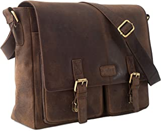 LEABAGS Cambridge Leder-Umhängetasche I Laptoptasche bis 15 Zoll I Messenger Bag aus echtem Büffel-Leder im Vintage Look I Ledertasche I Schultertasche I Arbeitstasche I 38x10x31cm
