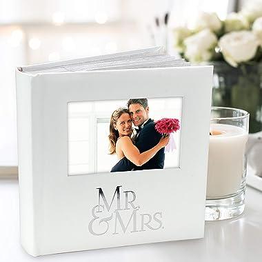 Malden International Designs Mr. & Mrs. Album with Memo & Photo Opening Cover Photo Album, 160-4x6, White