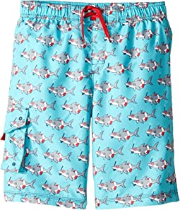 Snorkeling Sharks Board Shorts (Toddler/Little Kids/Big Kids)