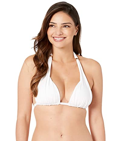 LAUREN Ralph Lauren Beach Club Solids Molded Cup Slider Top w/ Small Hammered Barette Slider (White) Women
