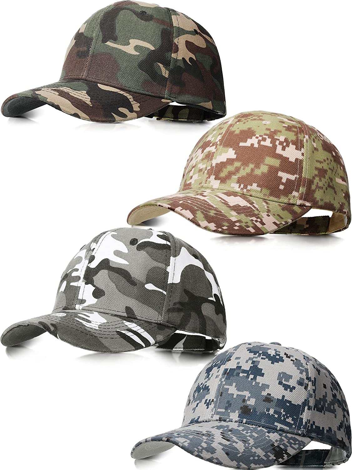 Geyoga 4 Pieces Men Camouflage Baseball Cap Army Military Camo Hat Camouflage Outdoor Sports Cap Camo Tactical Cap Hunting Fishing Hat for Men Women